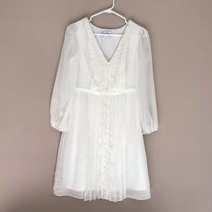 Jessica Simpson Pleated Lace Trim Dress